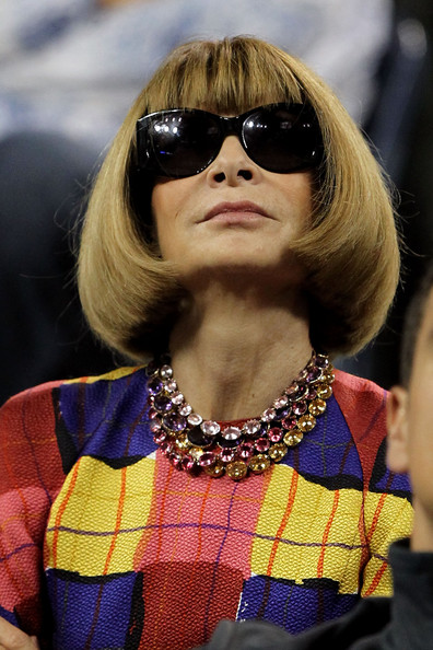 Editor in Chief of Vogue Anna Wintour watches Roger Federer of Switzerland play against Santiago Giraldo of Colombia during Day One of the 2011 US Open at the USTA Billie Jean King National Tennis Center on August 29, 2011 in the Flushing neighborhood of the Queens borough of New York City. (August 28, 2011 - Photo by Matthew Stockman/Getty Images North America)