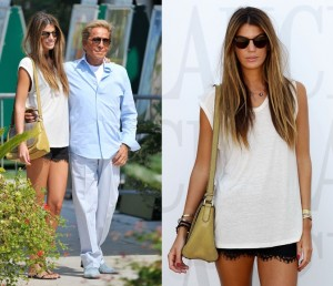Italian model and socialite Bianca Brandolini d'Adda at a lunch with Valentino Garavani in Venice