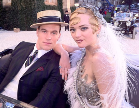 Gemma Ward on the set of the Great Gatsby