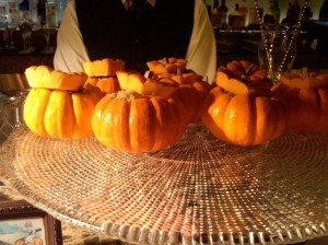 Wolfgang Puck's pumpkin cheesecake mini pumpkins at the dessert bar -- LOVED THESE!