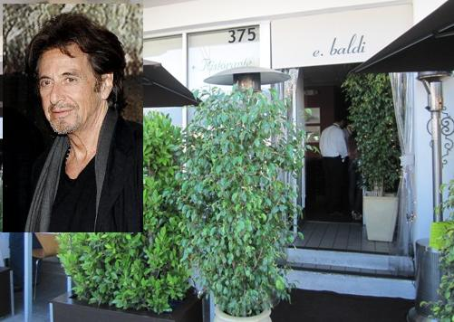 Al Pacino was at E. Baldi last Thursday where he is a regular