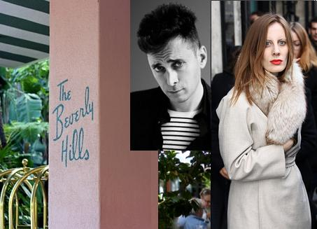 Hedi Slimane & Liz Goldwyn had lunch together at the Polo Lounge last Saturday