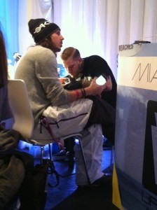 #VATL -- Cisco Adler getting tattooed by Code of Conduct's Jason Hoodrich at Miami Oasis