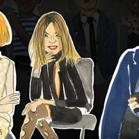 Anna Wintour, CarineRoitfeld, Hamish Bowles (Andre Leon Talley got cut off)