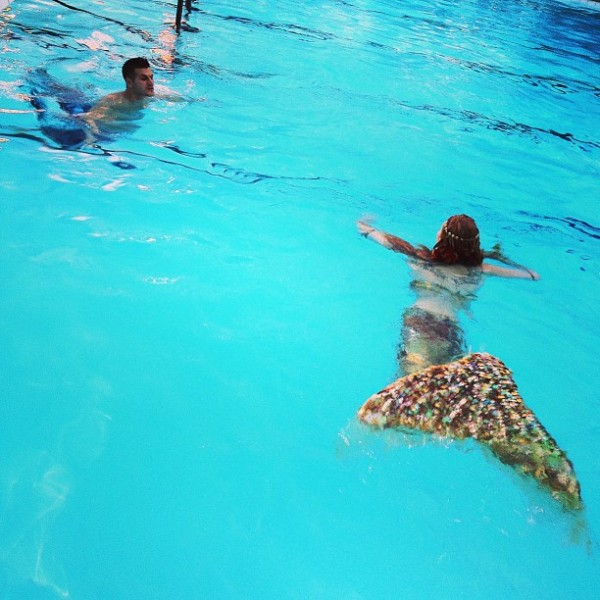Mermaids in the pool - now a regular occurance at L.A. parties (photo via @BeverlyHilton)