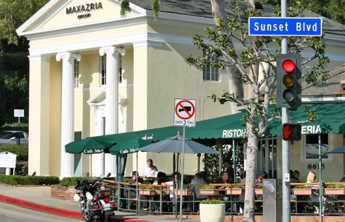 Cops on Sunset Plaza are there strictly to lunch -- pic via  Google Images