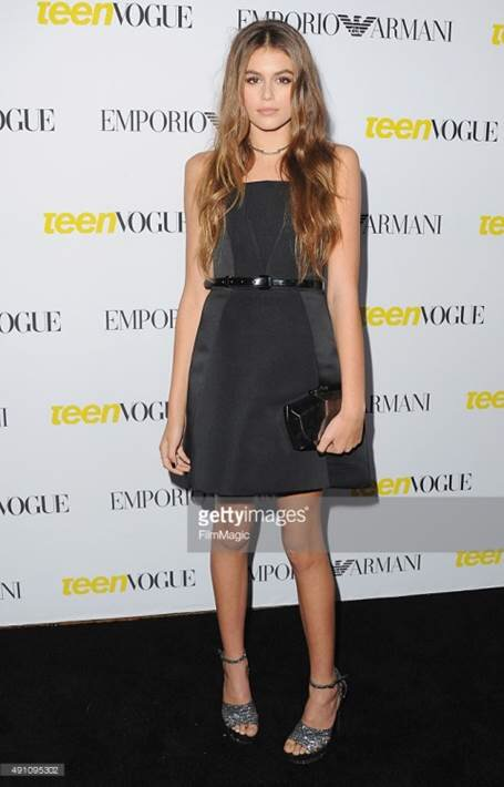 Daughter of super model Cindy Crawford and Rande Gerber Kaia Gerber, 13, at Teen Vogue's Annual Young Hollywood Issue Launch Party on Friday, September 2, 2015.