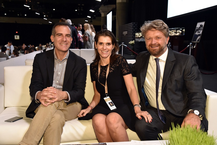 Los Angeles Mayor Eric Garcetti, Fernanda Ameeuw, Christophe Ameeuw Longines Masters, Day 4, Los Angeles, America - 04 Oct 2015 Photo by Rob Latour/REX Shutterstock